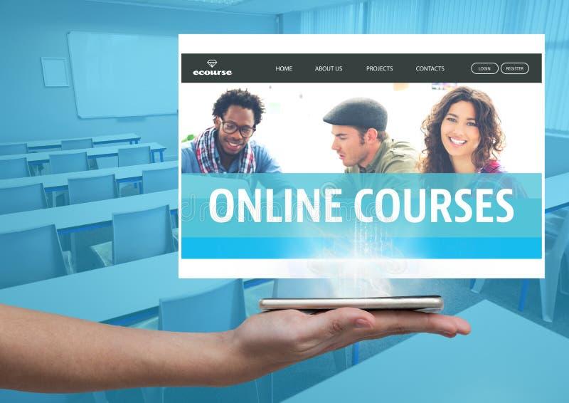 La mano que sostiene una tableta de cristal y los cursos en línea App interconecta libre illustration