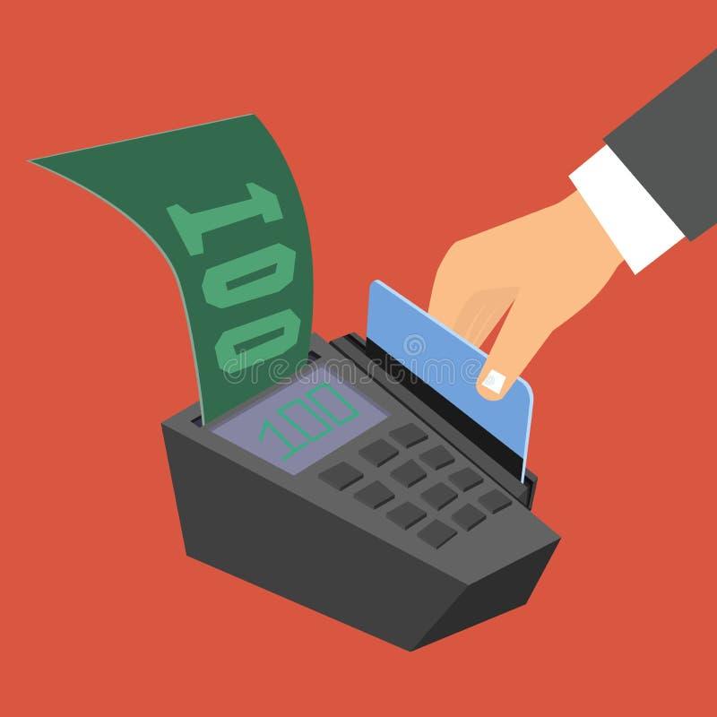 La mano que sostiene una tarjeta de crédito pasa en el terminal del pago libre illustration
