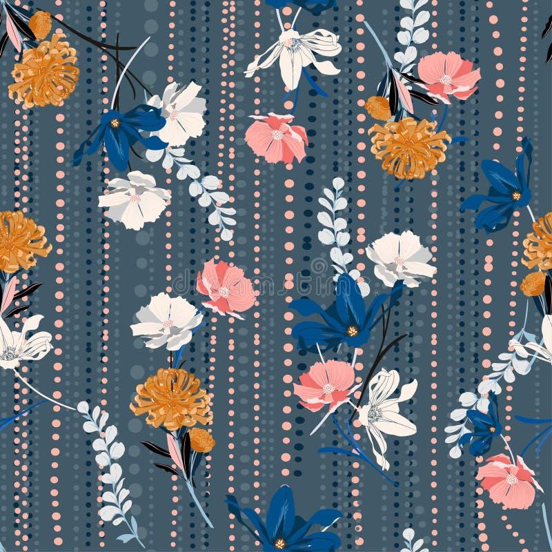 La mano retra elegante del vector inconsútil del modelo que dibuja floral colorido encendido y los lunares alinean humor del jard libre illustration