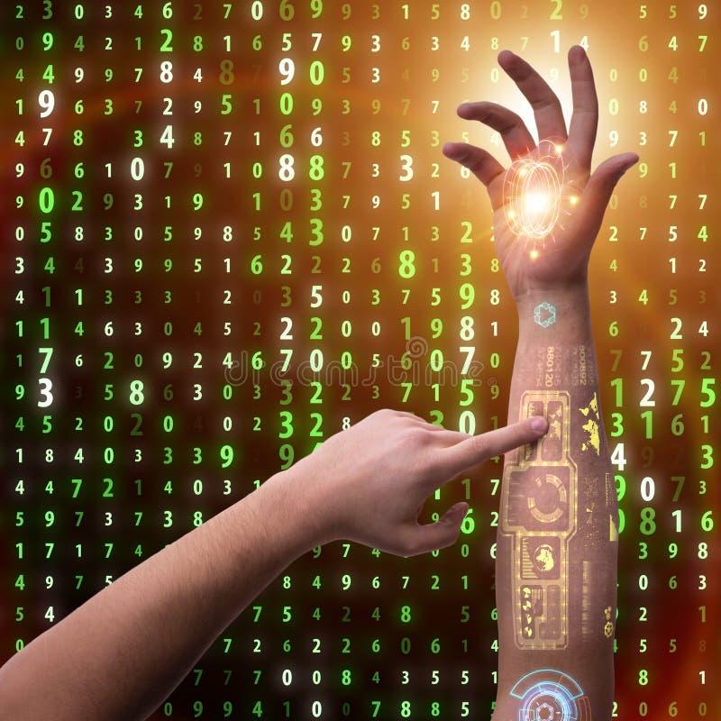 La mano robot umana nel concetto futuristico fotografia stock