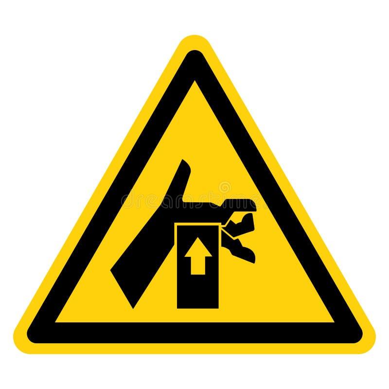 La mano schiaccia la forza da sotto il segno di simbolo, illustrazione di vettore, isolato sull'etichetta bianca del fondo EPS10 royalty illustrazione gratis