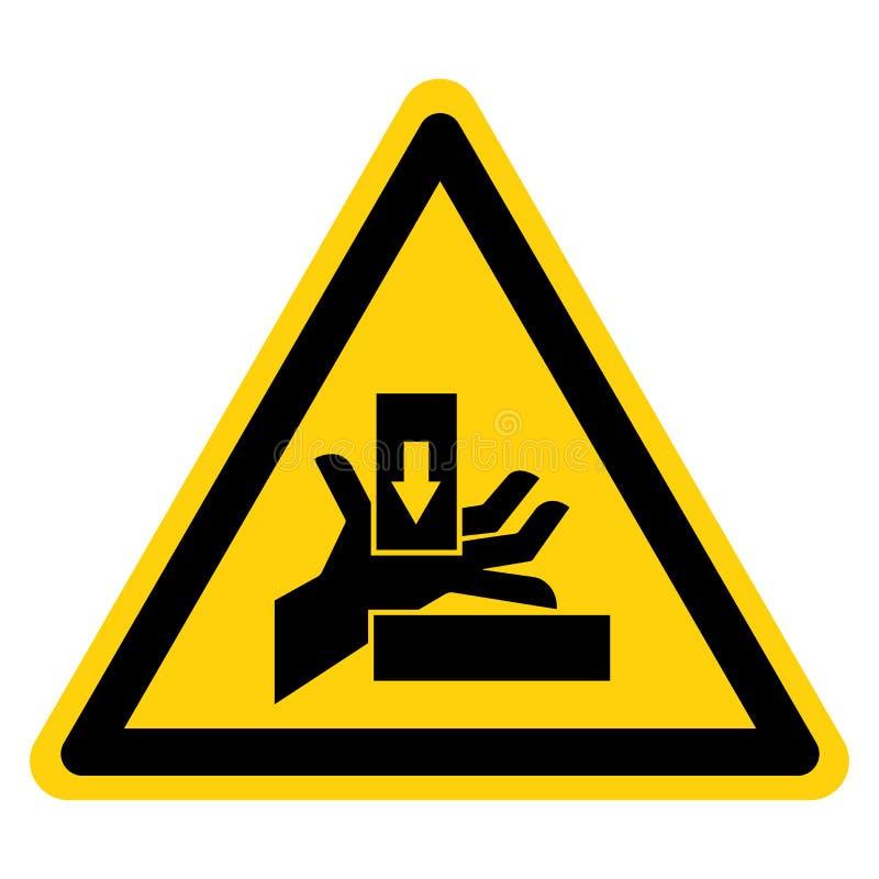 La mano schiaccia la forza dal giusto segno di simbolo, illustrazione di vettore, isolato sull'etichetta bianca del fondo EPS10 illustrazione di stock