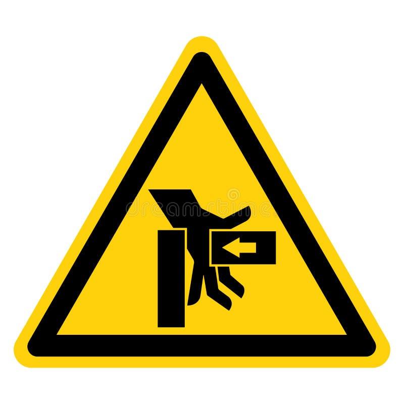 La mano schiaccia la forza dal giusto segno di simbolo, illustrazione di vettore, isolato sull'etichetta bianca del fondo EPS10 illustrazione vettoriale