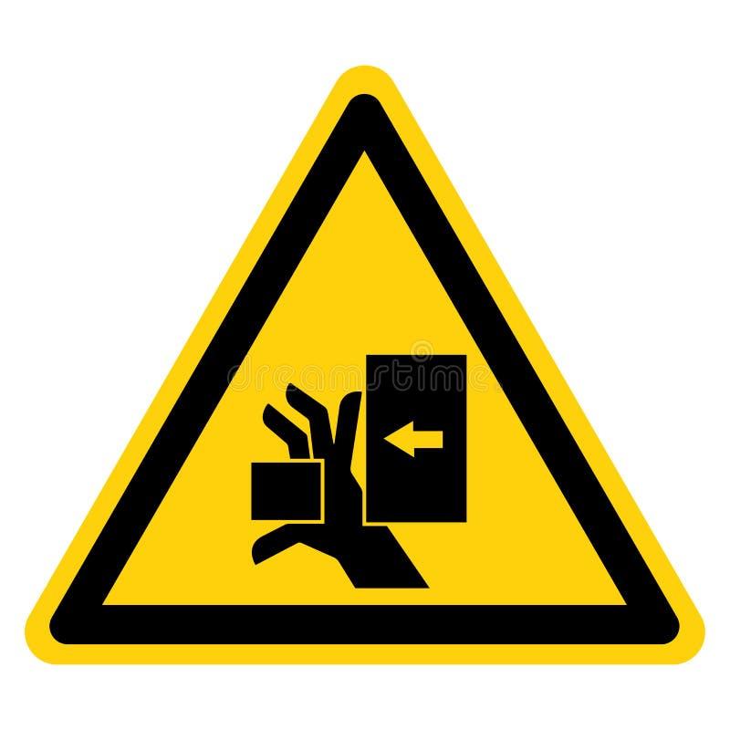 La mano schiaccia la forza dal segno sinistro di simbolo, illustrazione di vettore, isolato sull'etichetta bianca del fondo EPS10 royalty illustrazione gratis