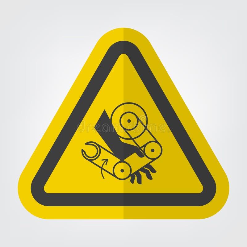 La mano schiaccia l'isolato del segno di simbolo del robot su fondo bianco, illustrazione ENV di vettore 10 illustrazione vettoriale