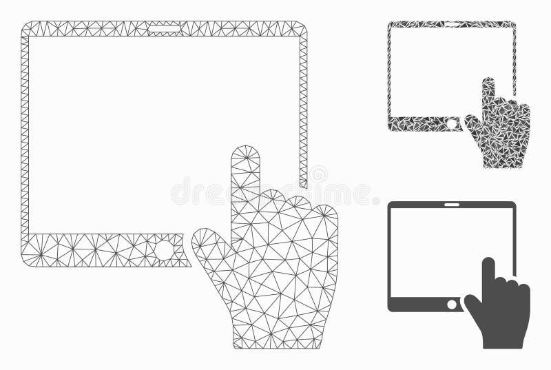 La mano señala el vector móvil Mesh Network Model de la tableta y el icono del mosaico del triángulo libre illustration