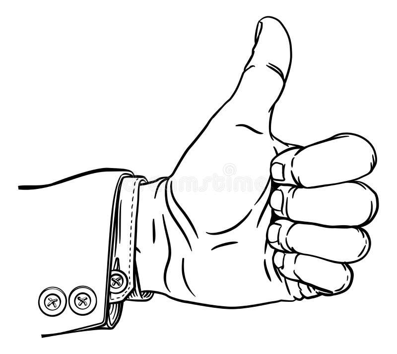 La mano sfoglia sul pollice di gesto verso l'esterno le dita in pugno royalty illustrazione gratis