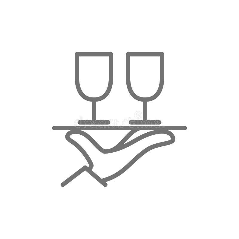 La mano sostiene dos vidrios alinea el icono ilustración del vector