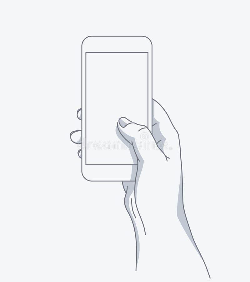 La mano sostiene el teléfono ilustración del vector