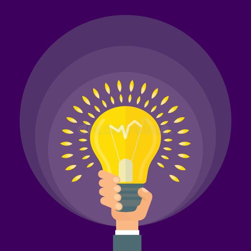La mano sostiene la lámpara brillante stock de ilustración