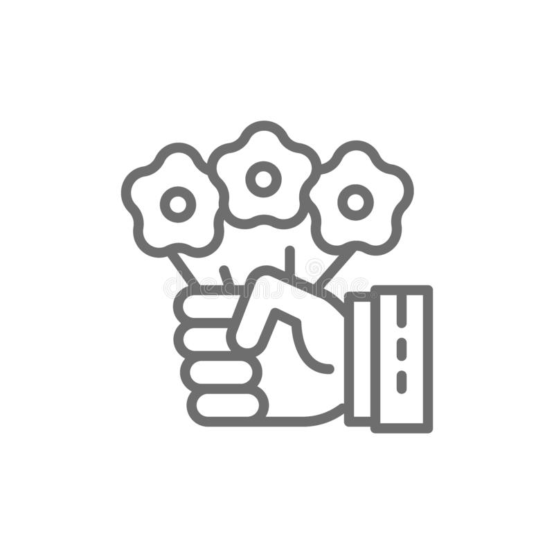 La mano sostiene las flores, truco mágico con el ramo floral, línea icono del circo stock de ilustración