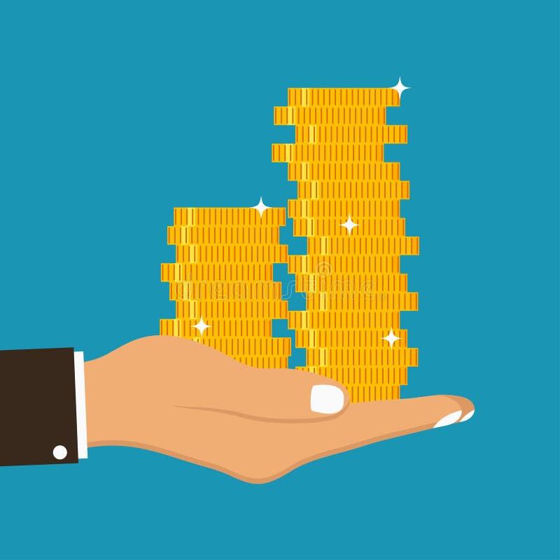 La mano sostiene monedas de oro Pila de monedas en la palma Concepto de dar o de recibir el dinero Vector libre illustration