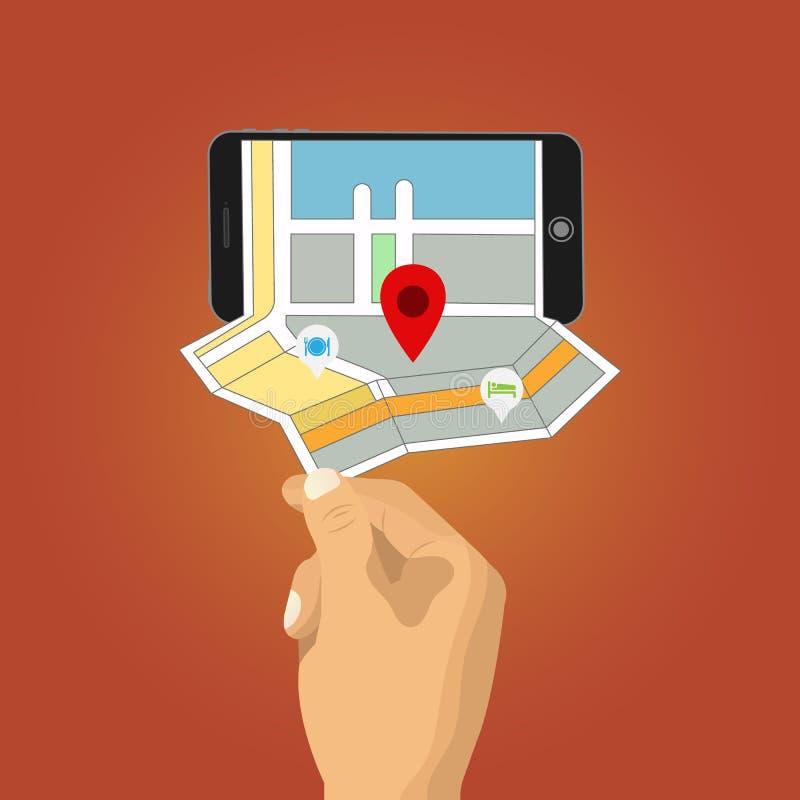 La mano sostiene smartphone con el navegador de los gps del mapa de la ciudad libre illustration
