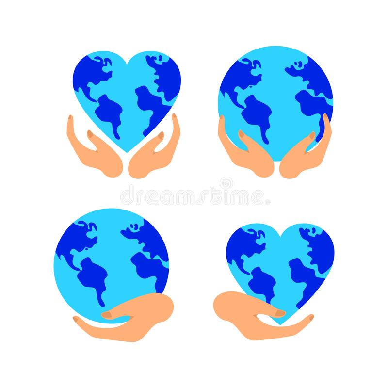 La mano sostiene la tierra azul, protegiendo y salvaguardando la naturaleza del planeta, sistema del vector libre illustration