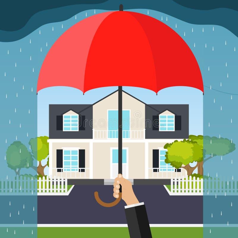 La mano sostiene un paraguas sobre la casa El concepto de seguridad en el hogar stock de ilustración
