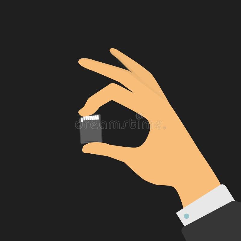 La mano sostiene una tarjeta de memoria stock de ilustración