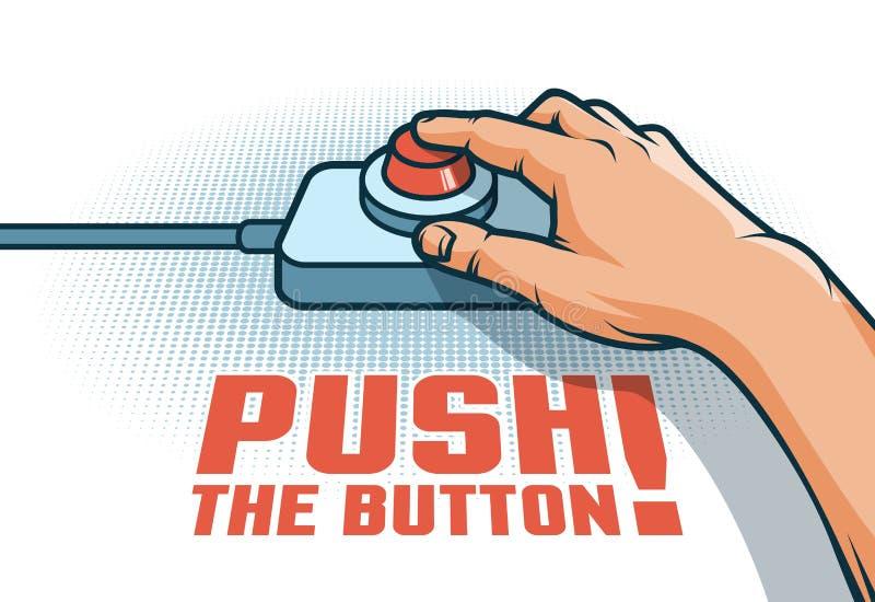 La mano spinge il bottone rosso con il dito illustrazione vettoriale