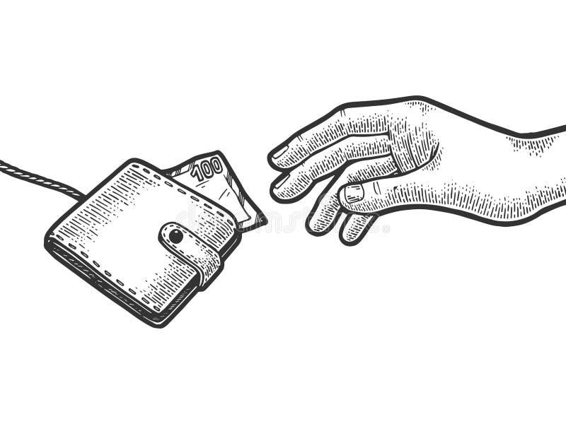 La mano sta provando ad afferrare il portafoglio sullo schizzo della corda illustrazione vettoriale
