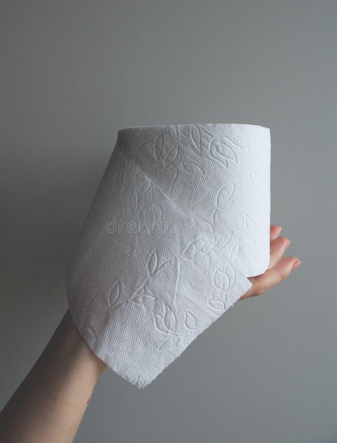 La mano sta tenendo la carta igienica immagine stock libera da diritti