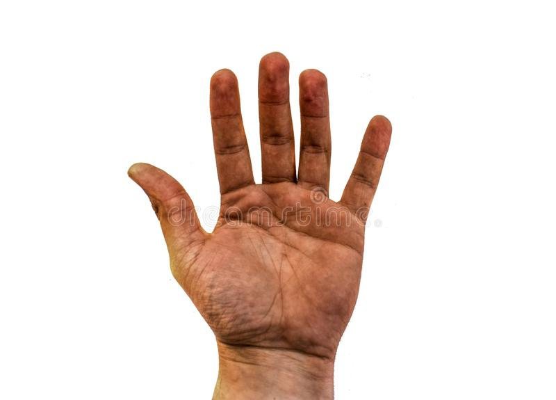 La mano sucia abierta del hombre aislada en el fondo blanco imagen de archivo libre de regalías