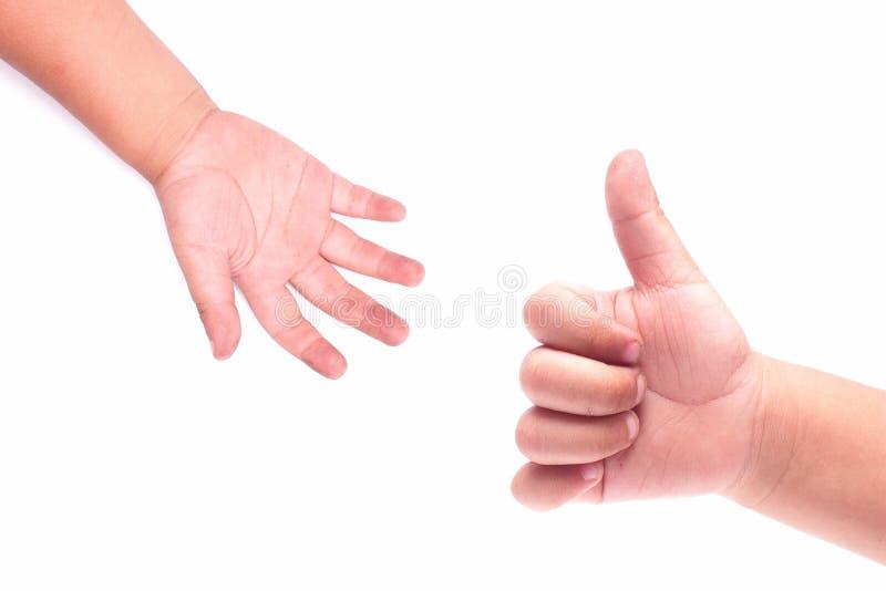 La mano sucia de un niño fotos de archivo