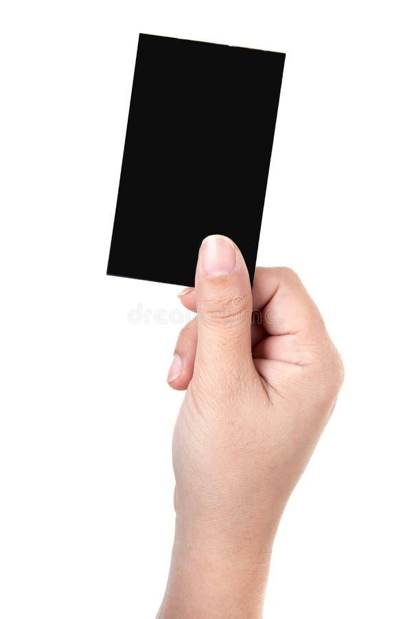 La mano tiene il biglietto da visita fotografia stock libera da diritti