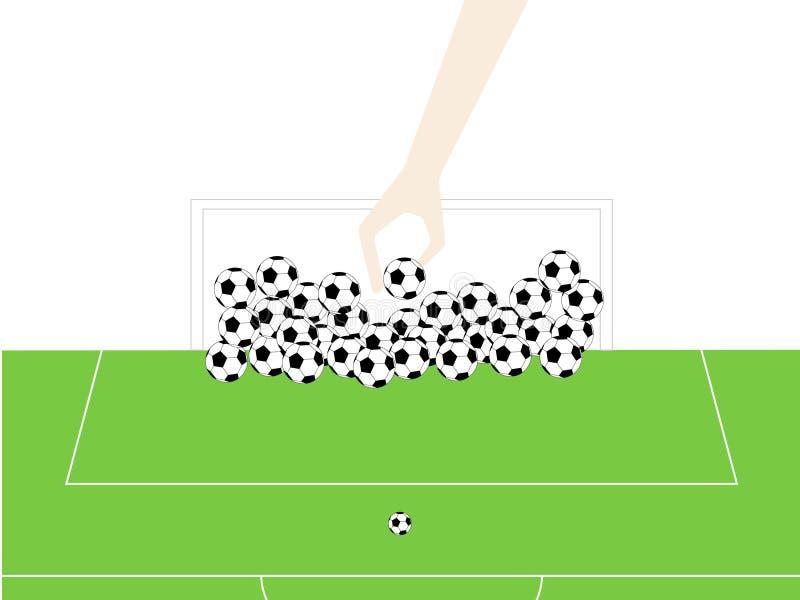 La mano tiene il calcio nello scopo fotografie stock