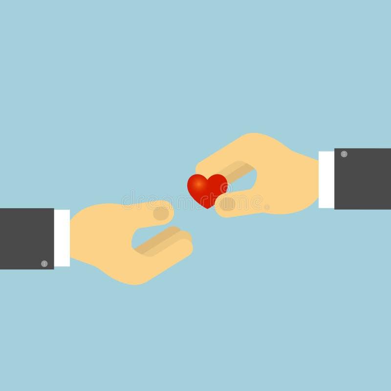 La mano tiene il cuore umano Il concetto di donazione di organo, trapianto di cuore royalty illustrazione gratis