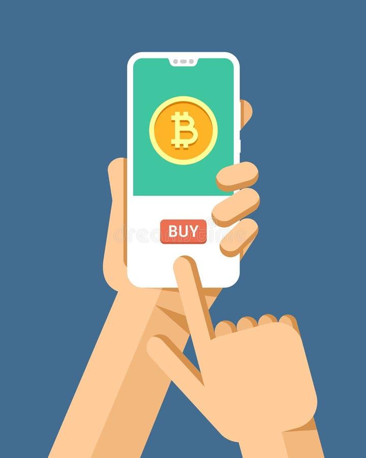 La mano tiene il modello dello smartphone Operazione d'acquisto di cryptocurrency del bitcoin Illustrazione moderna del modello d illustrazione vettoriale