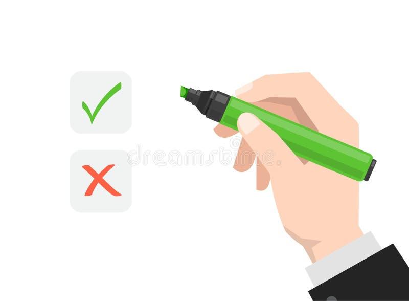 La mano tiene l'indicatore illustrazione vettoriale