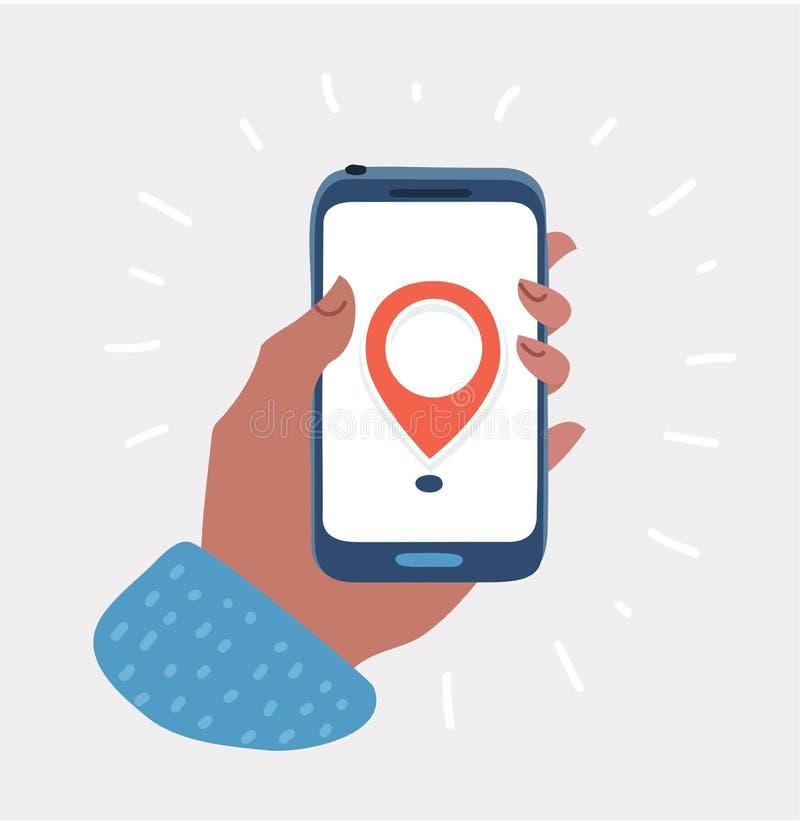 La mano tiene lo smartphone con il navigatore dei gps della mappa della città royalty illustrazione gratis