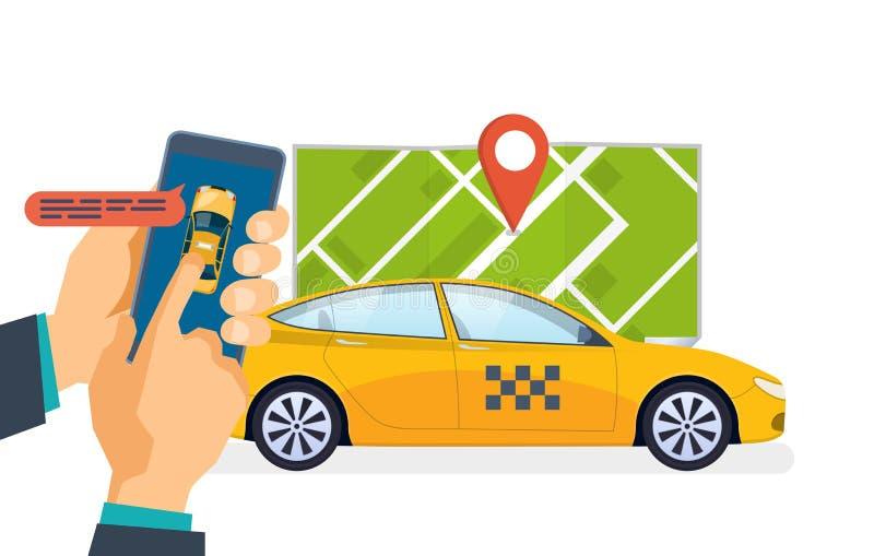 La mano tiene lo smartphone Servizio di ordinazione del taxi, chiamante Ordine, applicazione mobile illustrazione di stock