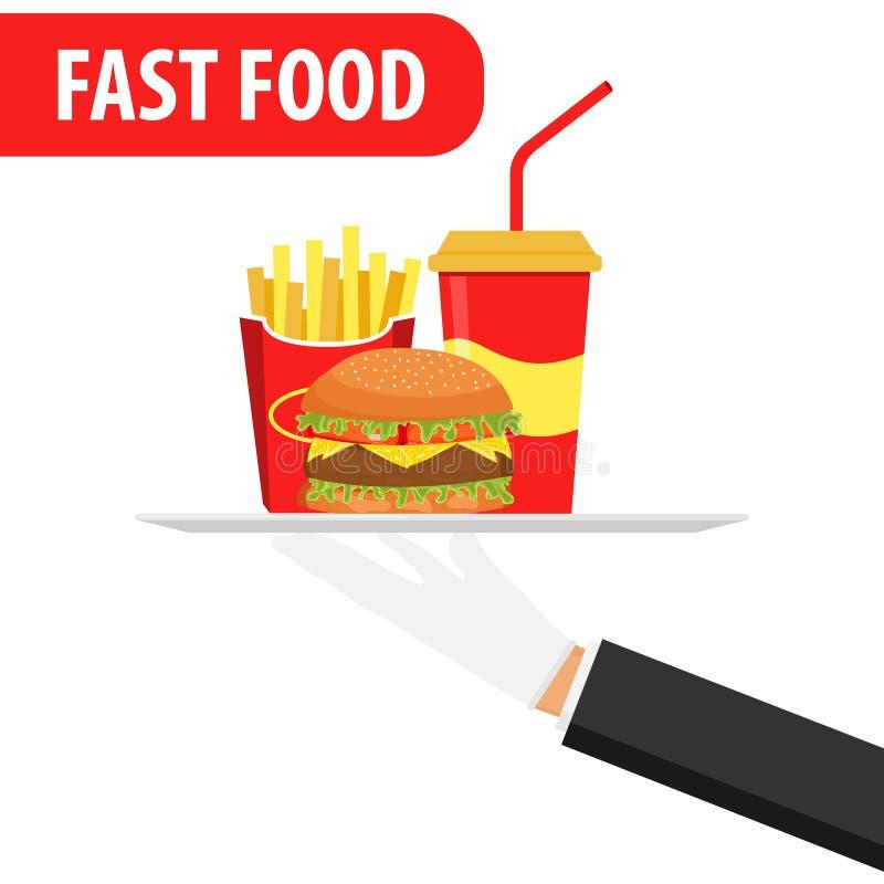 La mano tiene su un vassoio degli alimenti a rapida preparazione Insegna degli alimenti a rapida preparazione Hamburger, soda illustrazione di stock