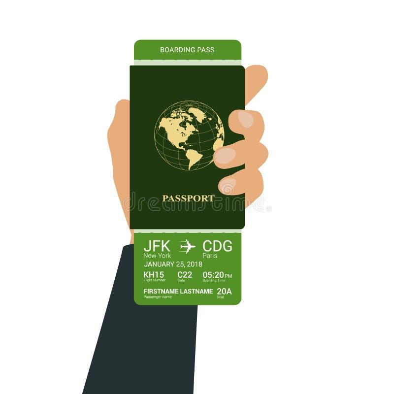 La mano tiene un passaporto illustrazione di stock