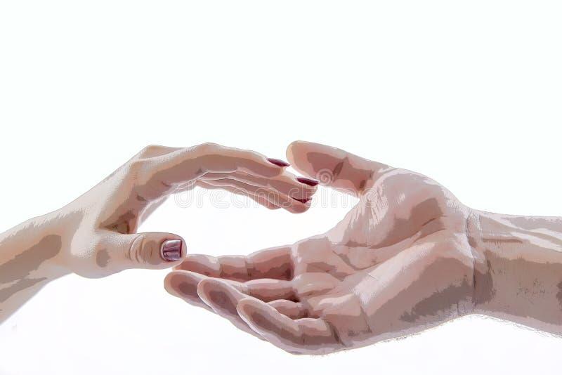 La mano tocca la mano, isolato, illustrazione immagini stock libere da diritti