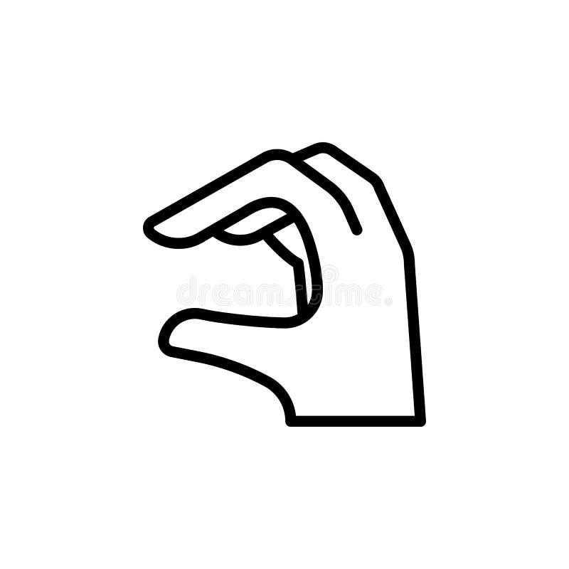 La mano toma el icono del esquema del gesto Elemento del icono del ejemplo del gesto de mano las muestras, símbolos se pueden uti fotos de archivo libres de regalías