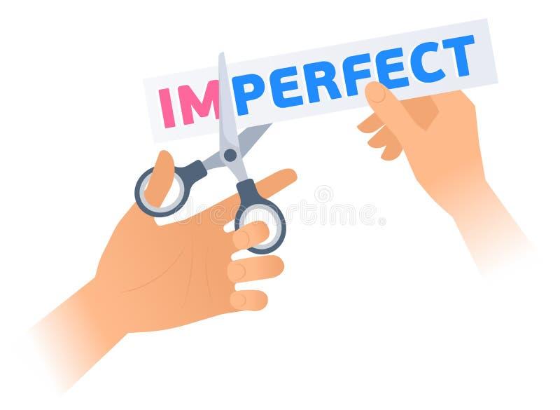 La mano umana con forbici taglia una frase IMPERFETTA illustrazione vettoriale