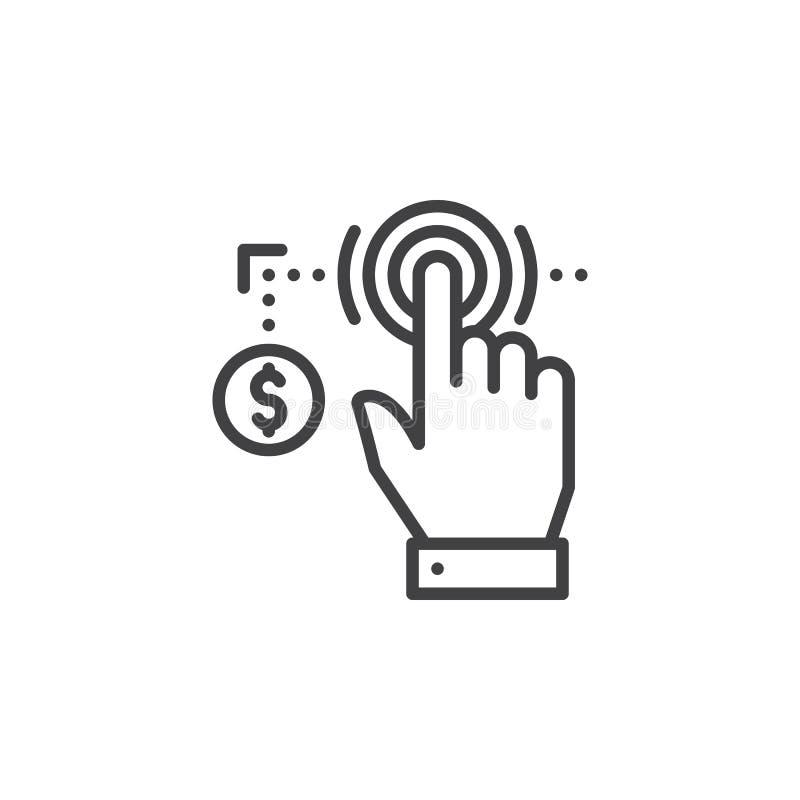 La mano usando la pantalla táctil y la moneda alinean el icono, muestra del vector del esquema, pictograma linear aislado en blan stock de ilustración