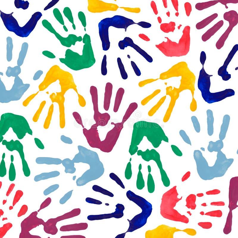 La mano variopinta stampa la carta da parati immagine stock libera da diritti