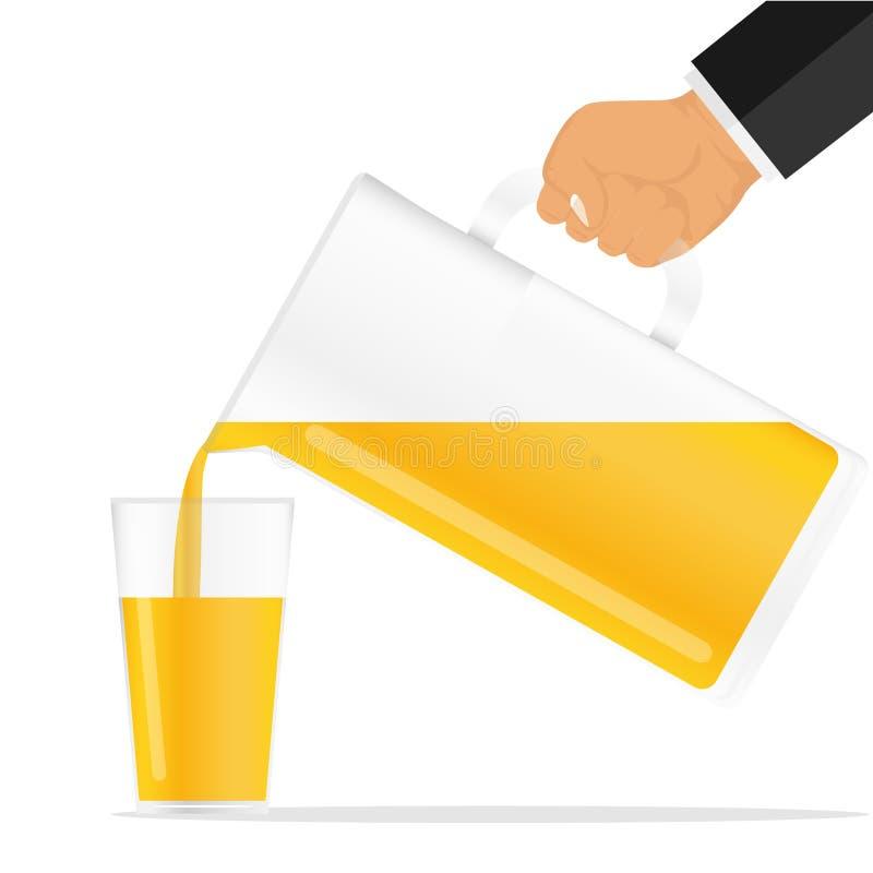 La mano vierte el jugo del jarro Vierta el zumo de naranja en un vidrio ilustración del vector
