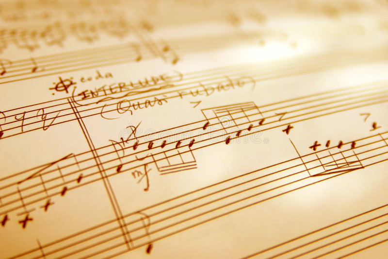 La mano witten lo strato di musica immagini stock