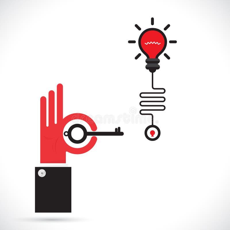 La mano y la llave del hombre de negocios firman con símbolo creativo de la bombilla RRPP ilustración del vector