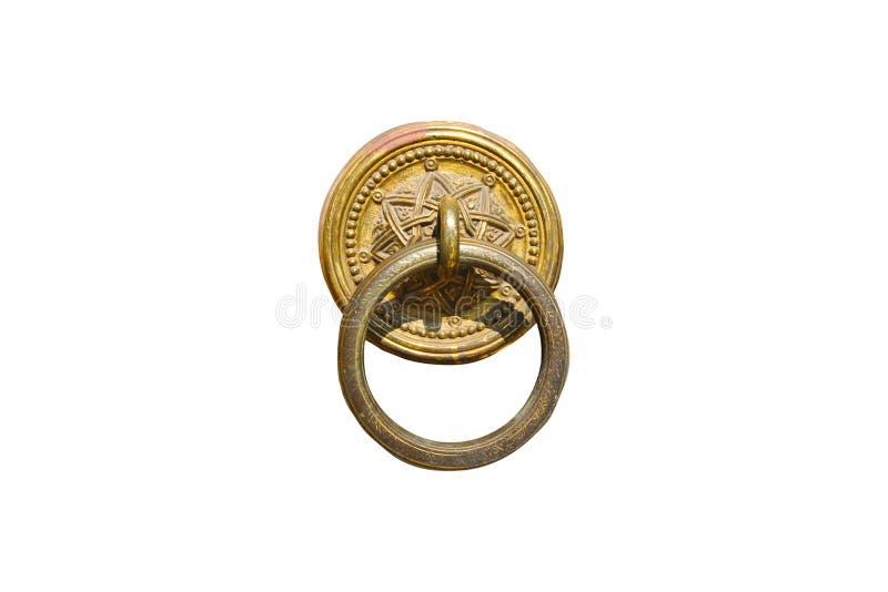 La manopola di porta antica, eredità dell'ottomano, ha isolato la vecchia manopola di porta immagine stock