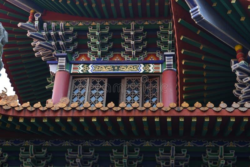 La mansarde en bois d'un bâtiment historique chinois images libres de droits