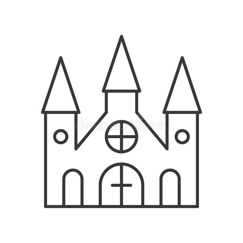 La mansión frecuentada, Halloween relacionó el icono, movimiento editable del esquema ilustración del vector