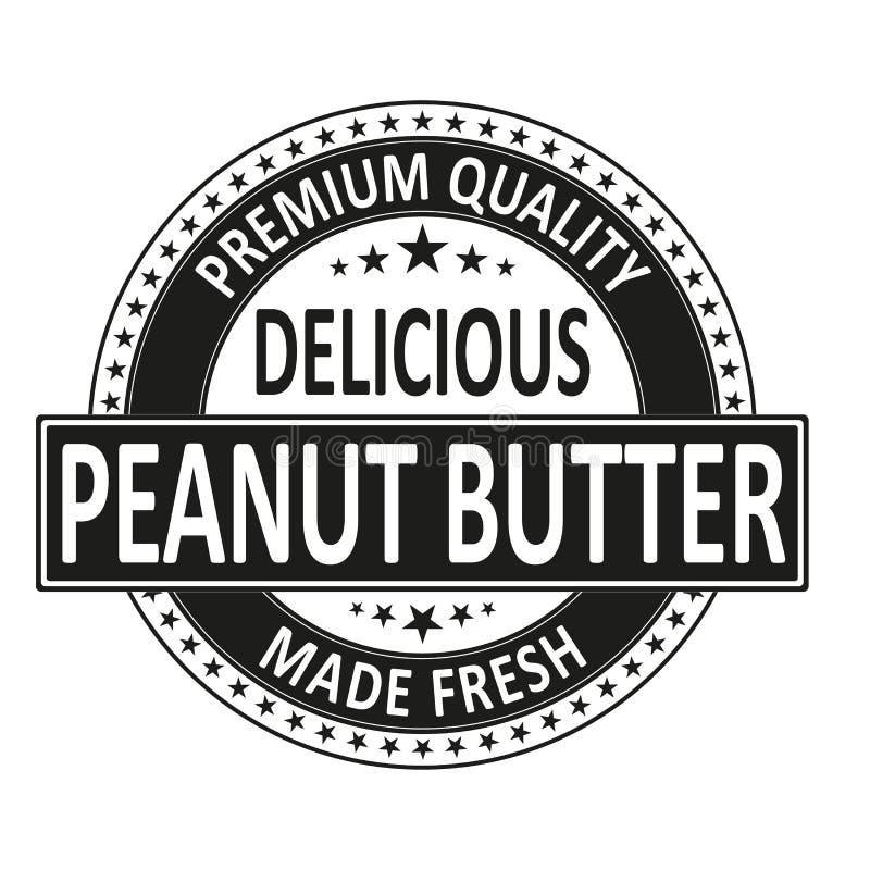 La mantequilla de cacahuete deliciosa de la calidad superior hizo el sello fresco de la insignia libre illustration