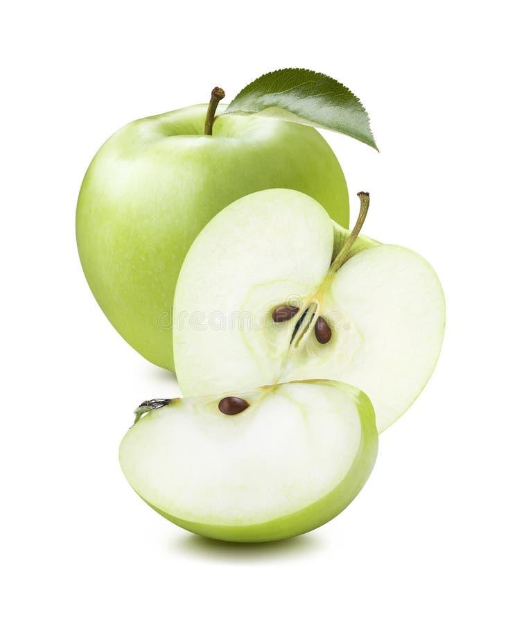 La manzana verde junta las piezas de la composición vertical aislada en el backgr blanco fotos de archivo