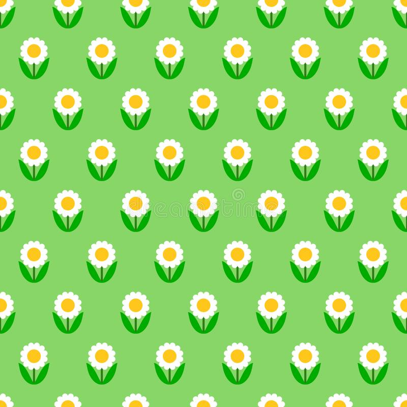 La manzanilla blanca sutil florece en el verde, modelo inconsútil simple, vector libre illustration