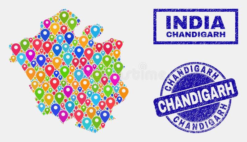 La mappa appunta il collage dei bolli della mappa e di lerciume della città di Chandigarh illustrazione di stock
