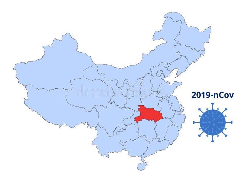 La mappa blu della Cina con il rosso Wuhan Fonte di distribuzione del nuovo coronavirus 2019-nCoV COVID 2019 2019 illustrazione vettoriale